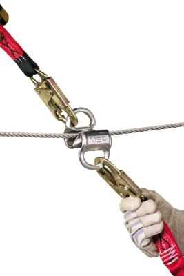 MSA Gravity Temporary Horizontal Lifeline kit offering two worker bypass